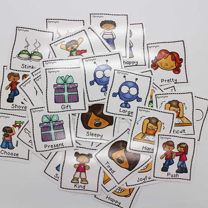 40Pcs/Set Synonyms Antonyms English Word Learning Card Flashcards Games  Puzzles for Kids Children Baby Juguetes Educativos Toys