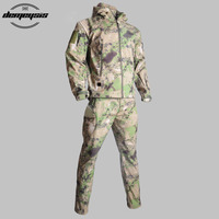 Outdoor Waterproof SoftShell Tactical Jacket + Pant Men Women Hunting Windbreaker Hiking Suits Camping Fishing Tactical Clothing