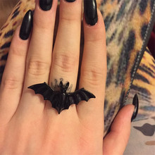 2017 free shipping fashion women New Jewelry wholesale European and American black bat personality adjustable ring animal ring