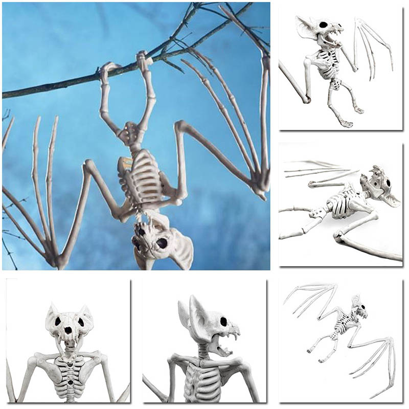 Halloween Decoration Bone Props Animals Skeleton Ornaments Bat Spider Dragon Bird Bones Hallowmas Horror House Party Decoration (115)