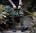 2017 Мода Западная Брюки Увеличить Страх Божий Мужчин Тощий тонкий Брюки hip hop Сторона С Застежкой-Молнией Случайные Шаровары мужчины
