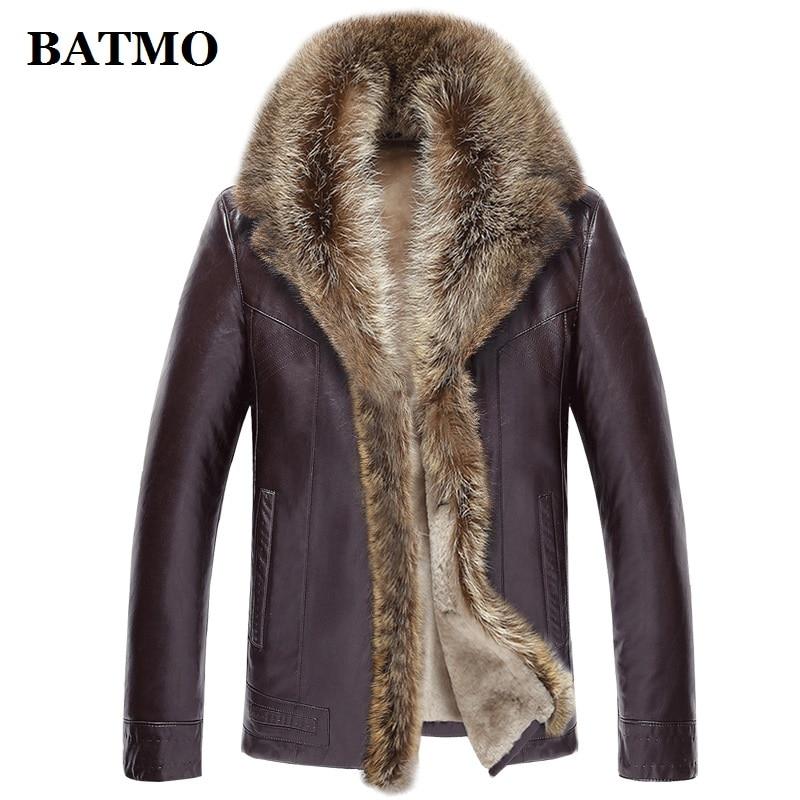 BATMO 2019 new arrival winter high quality real leather raccoon fur collars trench coat men ,men's winter Wool Liner parkas AL17