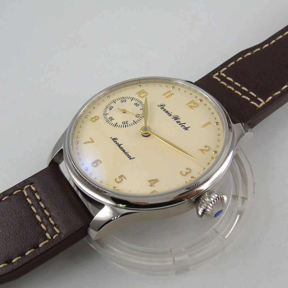 Luxury Brand Gold PARNIS light yellow Dial Watch Men Mechanical Hand Wind Wristwatch Male Fashion Leather Band Wristwatch in Mechanical Watches from Watches