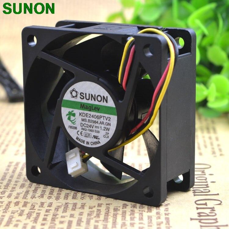 Sunon fan 60*60*25MM dc24V 1.2W 6CM KDE2406PTV2 3 wires silent frequency converter cooling fan