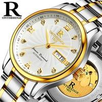 Men's Automatic Wrist Watch Gold Bezel Self winding movement with Gold Rotor Waterproof erkek kol saati otomatik