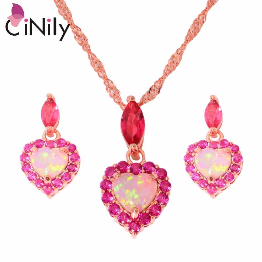 CiNily Created Pink Fire Opal Kunzite Rose Gold Color Wholesale for Women Jewelry Necklace Pendant Earrings