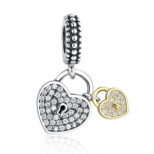 DIY Серебряный Шарм подходят Pandora браслет Бусины стерлингового серебра 925 Любовь мотаться Шарм crystal сердце, цветок, башня, дерево из бисера - Цвет: PY1273