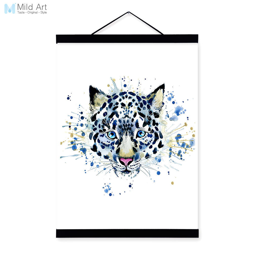 Snow Leopard Watercolor Fashion Animal Portrait Wooden