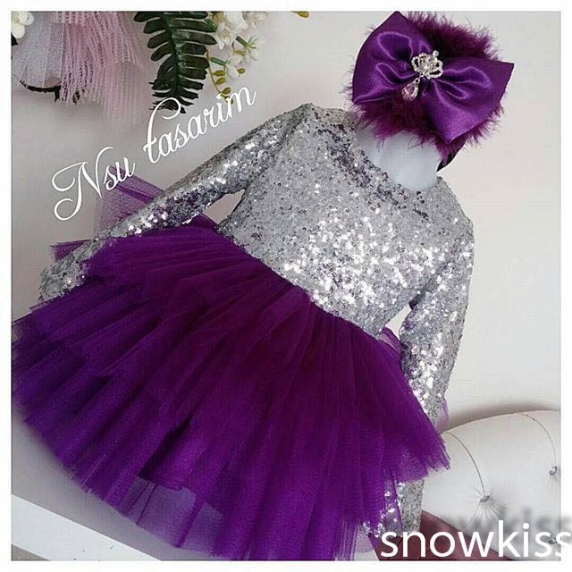Bling Sliver Sequin Long Sleeves Purple flower girl dresses baby Birthday Party Dress toddler girl pageant dress ball gowns dance party bling sequin beige ruffle one piece dress kids girl 2 8y pd049