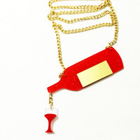 Women S Fashion Red Wine Chain Necklaces Pendants For Girls Choker Necklace Acrylic Crazy Lady Charm