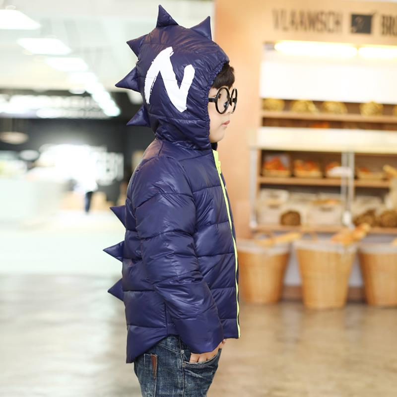 Winter Children Boys Jackets Cartoon Tyrannosaurus Girls Winter Coat Kids Outerwear Baby Boys/Girls Down Jacket Infant Clothes 12