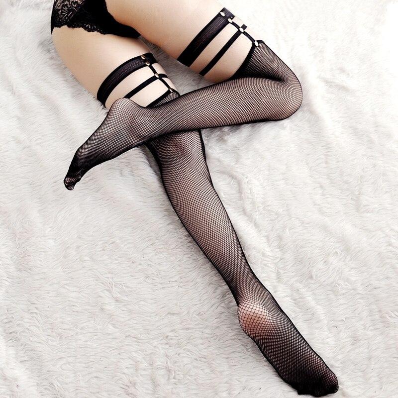 Sexy Breathable Mesh Fishnet Stockings Punk Rivet Bandage Top Thigh High Stockings Elastic Nylons Pantyhose Women Hosiery Medias
