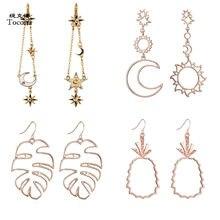 Tocona-pendientes colgantes con forma de Luna, estrella, piña, largos, Piercing, joyería, Vintage, oro rosa