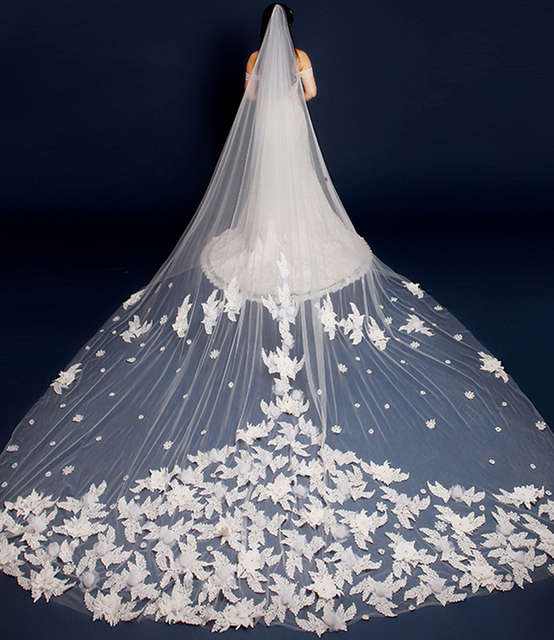 Free shipping 2017 new arrive 3M Bridal Veil Appliques Edge Tulle Ivory Wedding Voile Bridal Veil for Wedding Dresses