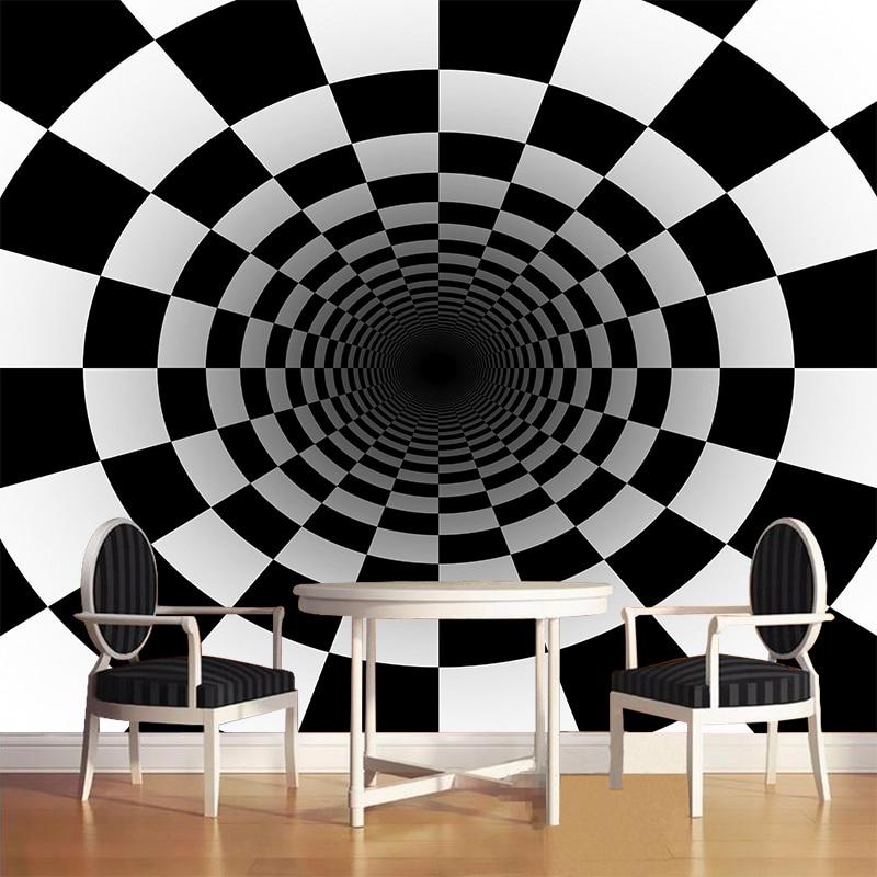 Foto Kustom Hitam Putih Square Wallpaper Mural Stereo Abstrak Terowongan Ruang Bola Latar Belakang Kertas Dinding Kamar Tidur Dekorasi Rumah Wallpaper Aliexpress