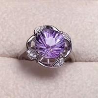 S925 plata esterlina anillo de cristal natural 2018 nueva moda joyería mano medboo 10mm Amethyst púrpura Anillo del Partido de compromiso