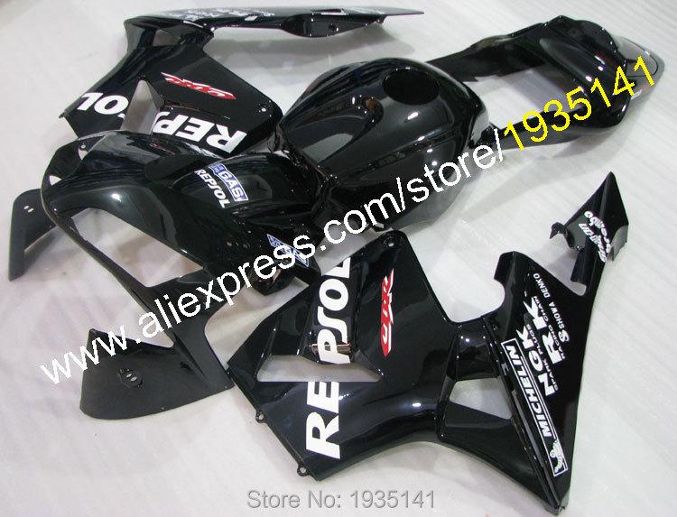 Горячие продаж,пользовательские комплект тело ABS для Honda CBR600 ЦБ РФ 600 рублей 2003 2004 03 04 черный мотоцикл РР Репсол Обтекателя (литье под давлением)