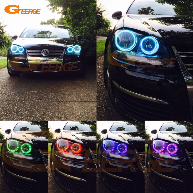 For Volkswagen VW Golf Rabbit Jetta GTI R32 MK5 2005 2006 2007 2008 2009 2010 Multi-Color Ultra bright RGB LED angel eyes kit new oem vw jetta golf mk5 gti rabbit front fog lights lamps 1t0941699 1t0941700 2005 2009