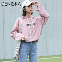 DENISKA 2018 New Women's Clothing Korean Simple Hooded Casual Shirt Wild Loose Bat Sleeve Large Size Female
