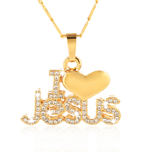 Christian Jewelry I Love Jesus Pendant Necklace