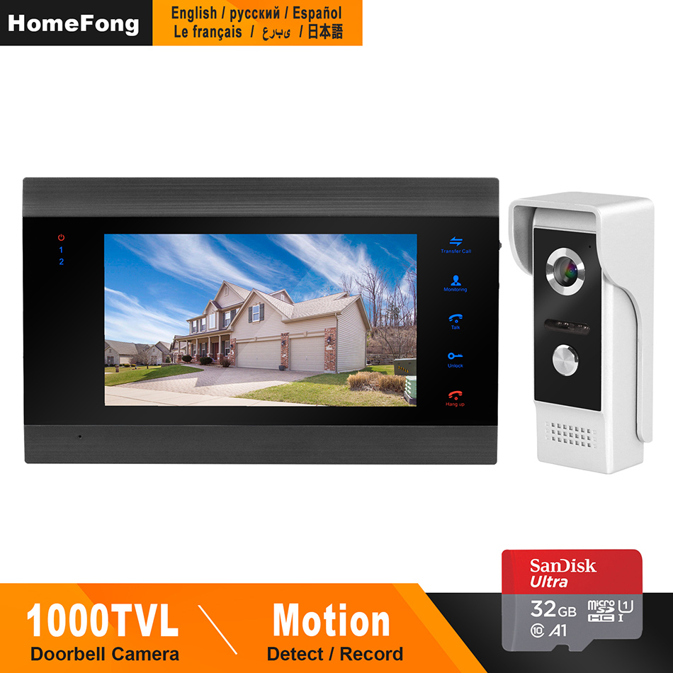 HomeFong Video Door Phone Wired Door Intercom For Home Video Intercom Support Motion Detect Record Door Camera 7 Inch Intercoms