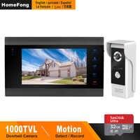 HomeFong Vidéo Porte téléphone Filaire Porte Interphone pour Home Video Intercom Soutien Détection de Mouvement Enregistrement Porte Caméra 7 pouces Interphones
