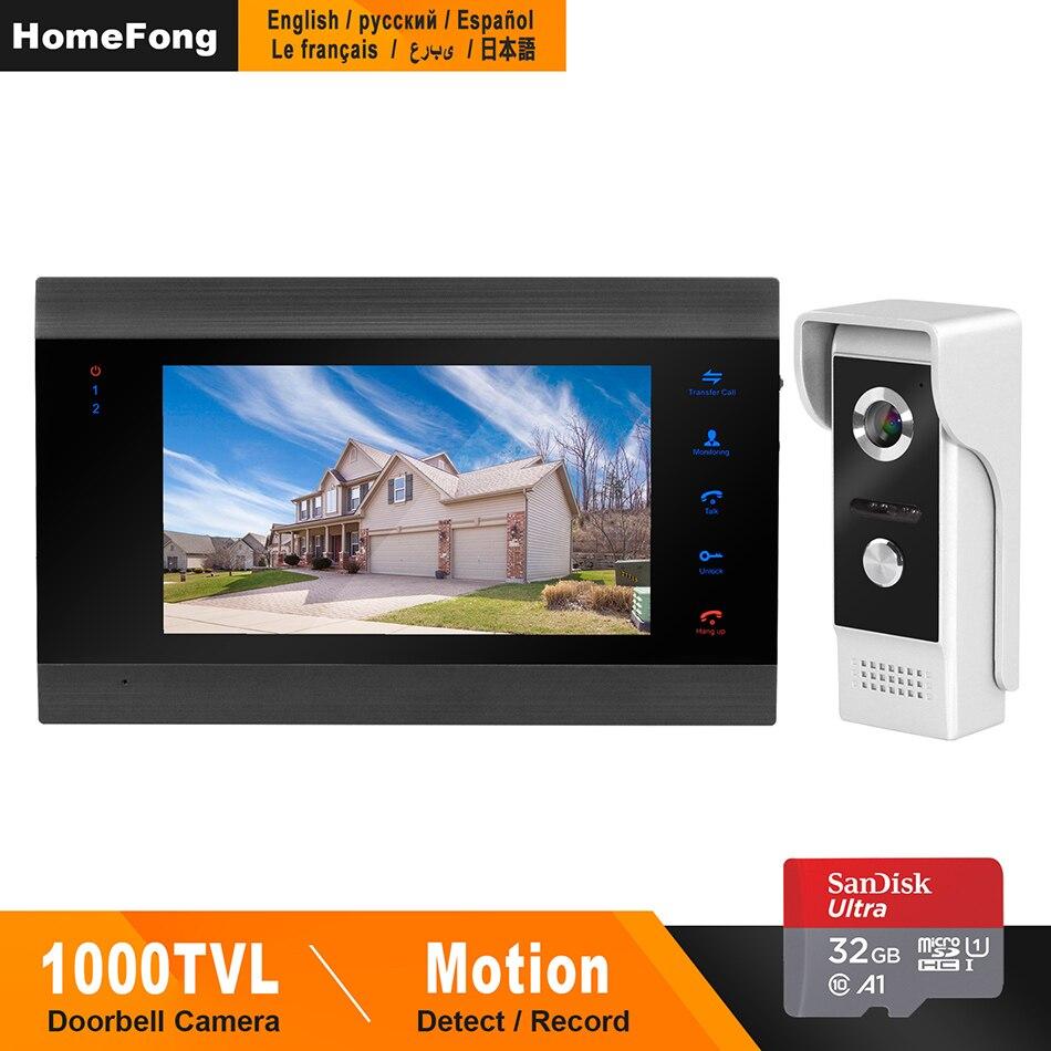 HomeFong Video Door Phone Wired Door Intercom For Home Video Intercom  Support Motion Detect Record Door Camera 7 Inch Intercoms