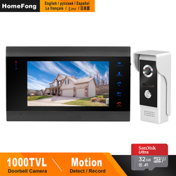 HomeFong Video de la puerta teléfono Video de la puerta de puerta con cable intercomunicador para casa, Video, intercomunicador apoyo movimiento detectar registro puerta cámara de 7 pulgadas intercomunicadores
