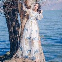 Vintage gaas borduurwerk jurken 2017 lente en zomer mode slanke taille lange mouwen beach dress vloerlengte godin dress