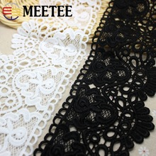 Meetee 2yards/lot 10CM Water Soluble Lace Accessories Quality Thickening Embroidery Milk Silk Dress Decoration Black ZK5101