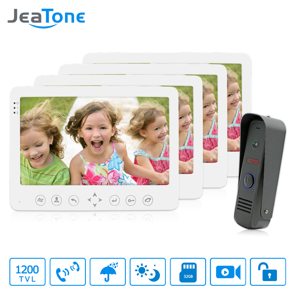 JeaTone 7'' TFT LCD Color Wired Video Door Phone Kit Visual Intercom Doorbell 4 Monitors 1200TVL IR Outdoor Camera Remote Unlock jeatone 7 lcd monitor wired video intercom doorbell 1 camera 2 monitors video door phone bell kit for home security system