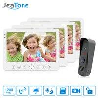 JeaTone 7 TFT LCD Color Wired Video Door Phone Kit Visual Intercom Doorbell 4 Monitors 1200TVL