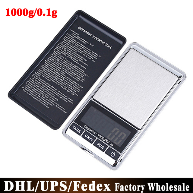 US $264 8 |Free DHL Fedex 50pcs/lot Weight Scales 1000*0 1g Mini Digital  Scale Portable Electronic LCD Pocket Digital Jewelry Diamond-in Weighing