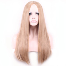 Blending heat resistant women ombre natural hair rainbow wigs long straight hair wigs cosplay wig synthetic lace front wig cheap