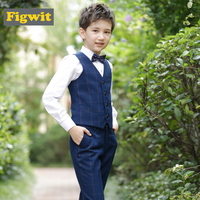 Figwit Children Clothing Formal Suit Set For Teen Boy Kids Wedding Party School First Communion Spring Autumn Plaid Vest Set
