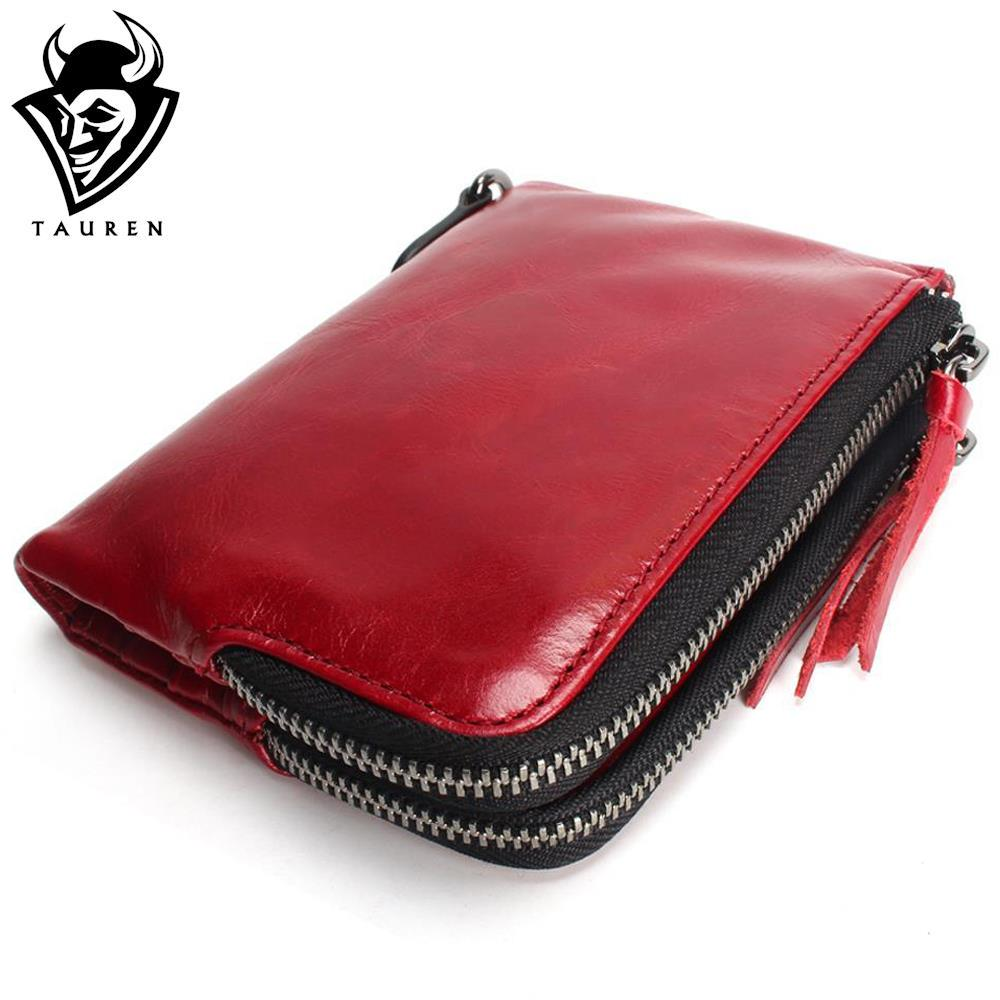 2018 New TAUREN Cute High Quality Genuine Leather Women Mini Wallet Oil Wax Leather Coin Purse Coin Zipper Credit Card Holder red cute high waisted leather mini skirt