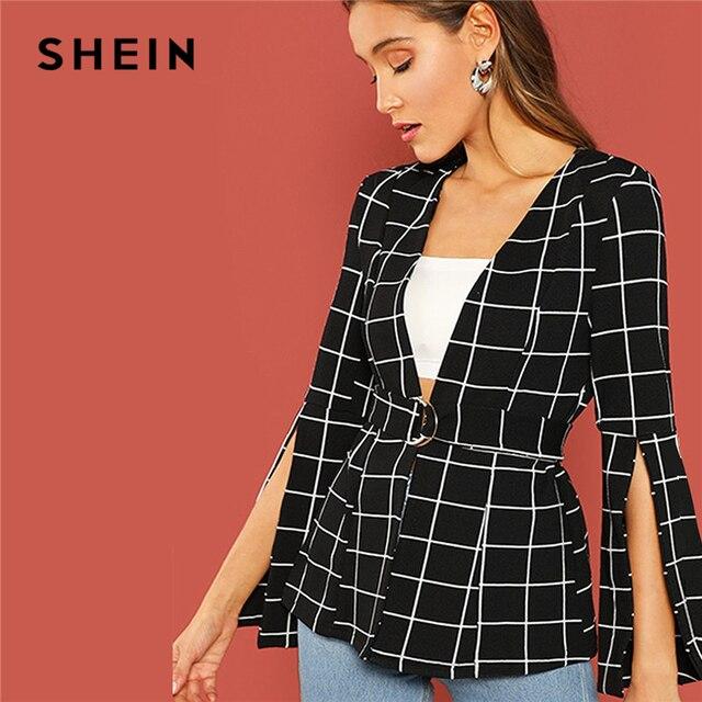 acfe16c488 SHEIN Office Lady Black Split Sleeve Belted Long Sleeve Wrap Outerwear 2018  Autumn Modern Lady Elegant