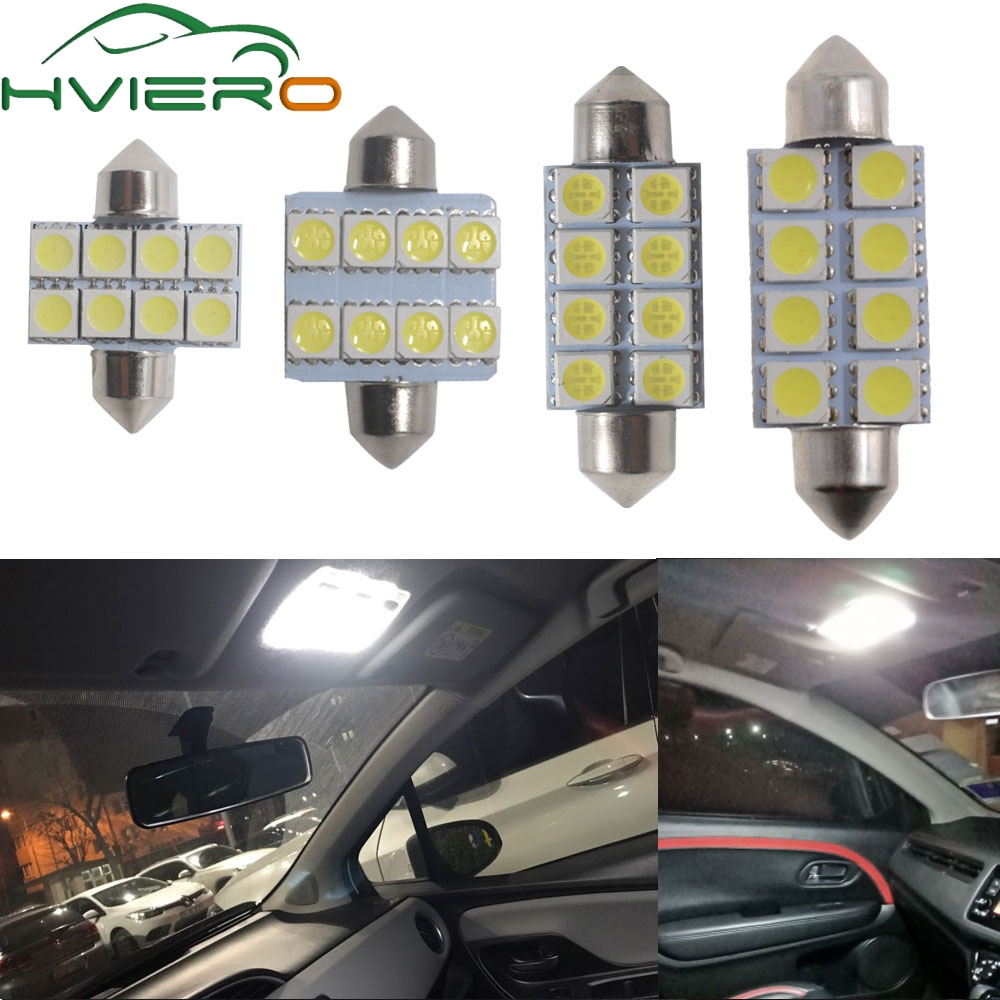 2X White Bright 31MM 36MM 39MM 41MM 8 SMD 5050 Parking LED Auto Led C5W C10W Interior Festoon Dome Light Reading Lamp Door Bulb