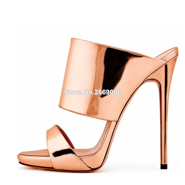 f0c877fd70 Women High Heel Sandals Metallic Rose Gold Patent Leather Mule Nude Heels  Blush Summer Shoes Ladies