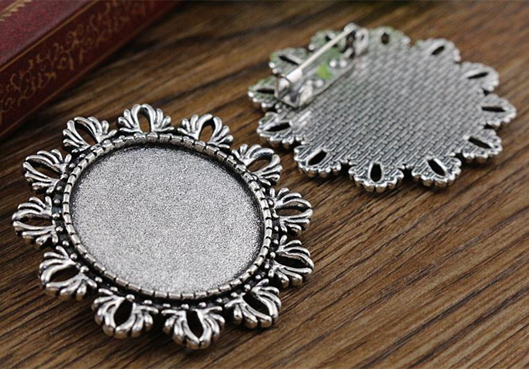New Fashion 5pcs 25mm Inner Size Antique Silver Brooch Cameo Cabochon Base Setting Charm Pendant (A5-38)