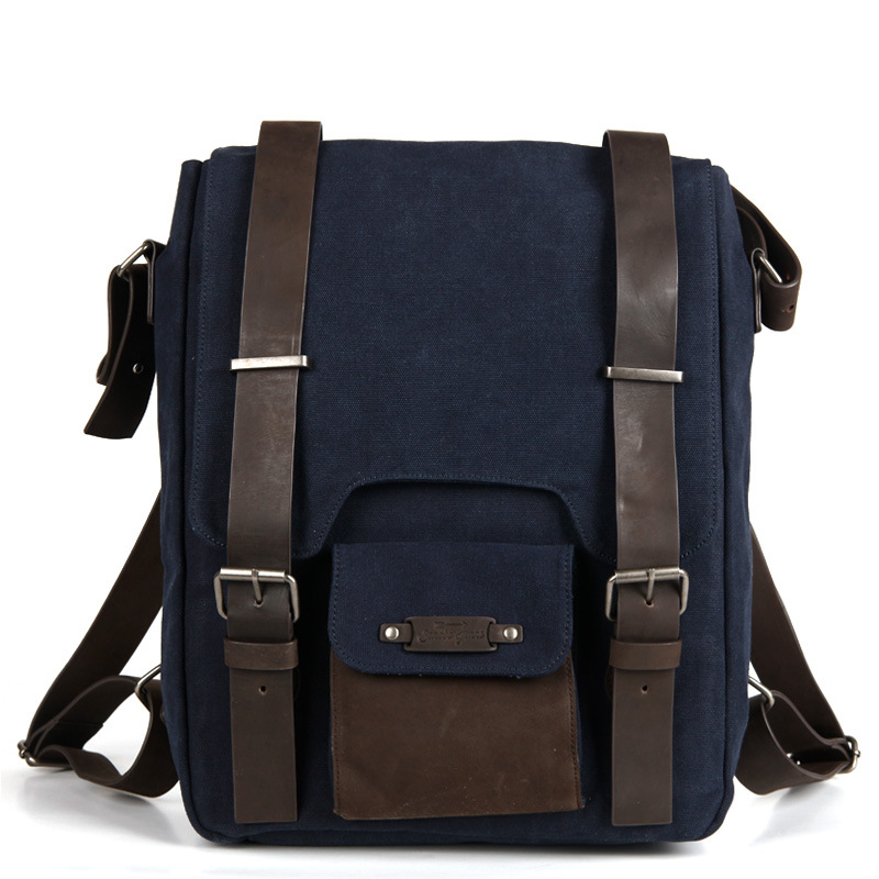 ФОТО New Stylish Retro Preppy Style Male Schoolbag Durable Canvas Splicing Top Layer Cowhide Belt Buckle Travel Bag Men Backpack