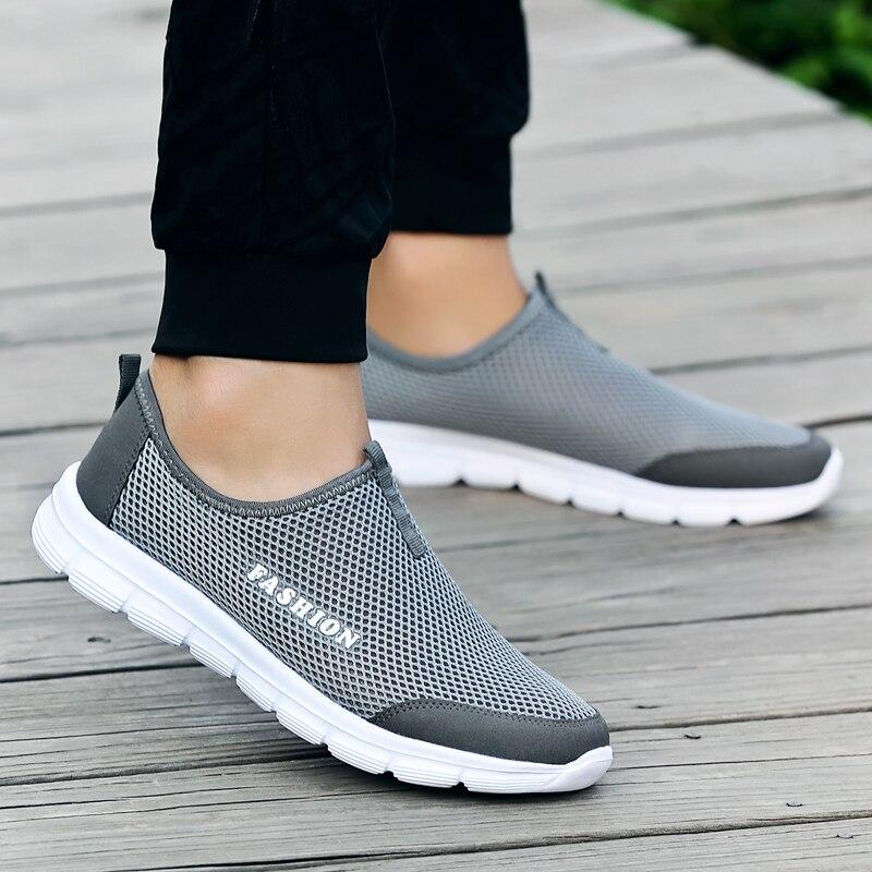 แฟชั่นฤดูร้อนรองเท้าผู้ชายรองเท้าสบายๆรองเท้าตาข่าย Air รองเท้าน้ำหนักเบา Breathable Slip - On Flats Chaussure Homme ข...