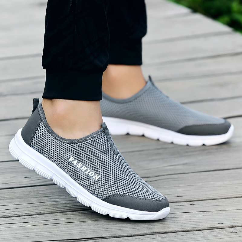 Fashion Summer Shoes Men Casual Air Mesh Shoes Lightweight Breathable Slip-On Flats Chaussure Homme Large Sizes 36-46 Wholesale
