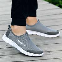 Mode été chaussures décontracté Air Mesh chaussures léger respirant sans lacet appartements Chaussure Homme grandes tailles 36-46 vente en gros
