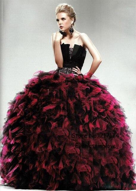 Vestidos de 15 negro con rojo