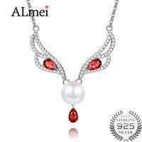Almei 8mm perla Flor de lujo como el zorro máscara forma animal collar joyería para las mujeres con caja CN034