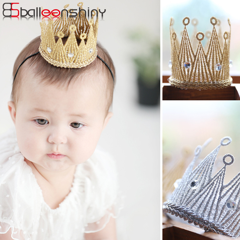 BalleenShiny Baby Crown Headband Newborn Bandeau Lovely Birthday Party Hair Decoration Kids Princess Photo Prop Child Hair Band