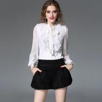 Ladies High Quality Blouses Women Bow Collar Lace Patchwork Black White Color Elegant Office Blouses Femmes