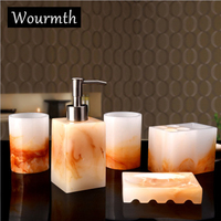 Wourmth 5 Pcs High quality Resin Bath Superior hotel Set Bathroom Accessories Soap Dish +Toothbrush Holder+Lotion bottle/set
