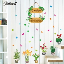 Garden Flower Floral Butterfly Wall Stickers TV Background Sofa Home Decor  3D Effect Wall Decal Window